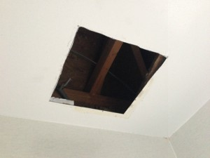 浴室暖房換気扇取替工事 天井加工後